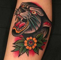56 Trendy tattoo old school pantera american traditional Traditional Panther Tattoo, Traditional Tattoo Old School, Traditional Ink, Traditional Tattoo Flash, American Traditional, Traditional Sleeve, Bad Tattoos, Trendy Tattoos, Tattoos For Women