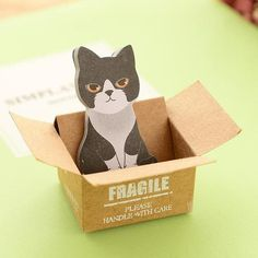 Cat in a Box Scrapbook Sticky Notes - Two Stupid Cats Let the Cat in a box help you keep your notes in check. Memo Pads Self-Adhesive Size: 3.5*4*2 cm
