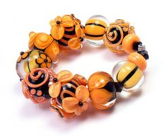 Pumpkin Glow Set of 9 Lampwork Beads Handmade by by kseeber, $99.00