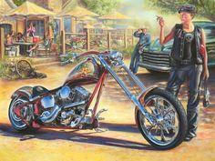 Money to burn. Harley Davidson Art, Classic Harley Davidson, Motorcycle Art, Bike Art, Motorcycle Garage, Cool Motorcycles, Vintage Motorcycles, Cycle Painting, David Mann Art