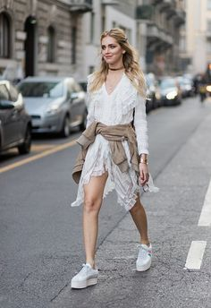 Chiara Ferragni wearing a white dress outside Alberta Ferretti on February 22 2017 in Milan Italy #MFW #FW17 #StreetStyle