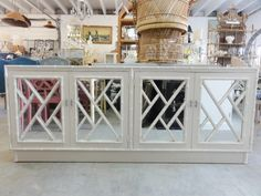 Faux Bamboo Chippendale Credenza