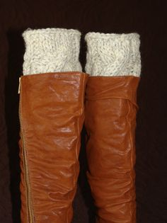 Handmade crochet knit socks boot cuffs leg warmers -- Love the cable-knit pattern!