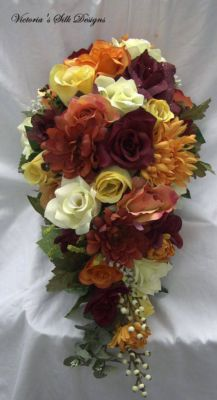Fall cascade wedding bouquet 2 pieces free by VictoriaSilkDesigns