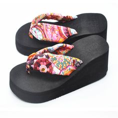 Cheap pantoufle femme, Buy Quality home slippers directly from China flip flop home Suppliers: pantoufle femme 2017 New Arrivel Bohemia Women Sandal Platform Wedges Beach Flip Flops Home Slippers Lady Shoes Mujer Sandalias
