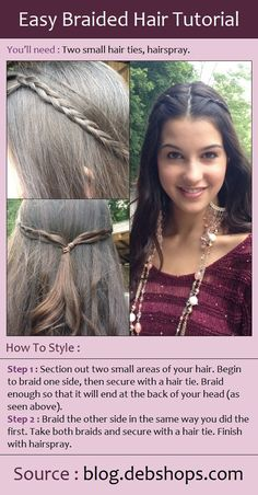 Easy Braided Hair Tutorial - this would be good for keeping my fringe back as I grow it out. So easy for teens going to school! Side Braid Hairstyles, Pretty Hairstyles, Braided Hairstyles, Style Hairstyle, Beauty Tutorials, Hair Tutorials, Beauty Tips, Beautiful Braids, Beautiful Men