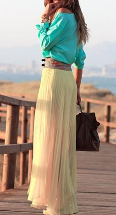 flowy skirt, blouse, great colors