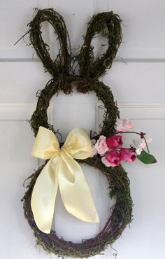 Country Primitive Easter Bunny wreath made from by nyflowerchic, $40.00
