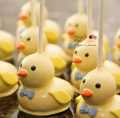 Ducks cake pops! Awesome for a baby shower party!!