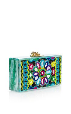 Edie Parker - Jean Clutch With Embroidered Inlay