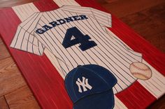 You pick team jersey and sport-Personalized Name Wall Canvas Sports Yankee Baseball Soccer Golf Football Art Boys Bedding Room Decor on Etsy, $100.00
