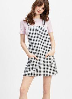d2266e2dd4a Black Gingham Print Denim Pinafore Dress