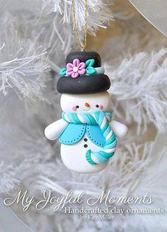 Polymer Clay Blue Snowman