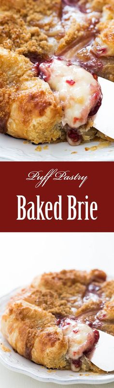 Puff Pastry Baked Brie! Brie cheese, topped with jam,  wrapped in puff pastry or crescent roll dough, and baked until melty. So EASY to make, and absolutely delicious. A real crowd pleaser. Serve with crackers or apple slices. On SimplyRecipes.com