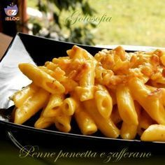 Penne pancetta e zafferano-ricetta primi-golosofia Penne, Pasta Recipes, Cooking Recipes, Healthy Recipes, Pasta Dishes, Food Dishes, Salty Foods, Italy Food, I Love Food