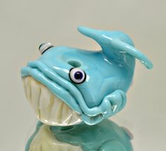 Blue Whale - blown bead - hollow bead - focal bead Whale - lampwork glass sculpture bead - from Izzybeads SRA UK