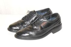Stafford Men's Black Leather Wing Tip Oxford Shoe Made in USA Size  11.5 EEE…