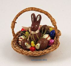 12th scale handmade dollhouse miniature Easter bunny by linsminis, $60.00