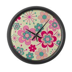 Vintage flowers on cream Large Wall Clock