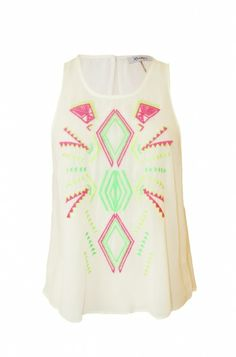 neon embroidered aztec print crop top. sheer summer tank. #getfussed