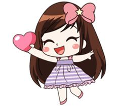 A little girl with a shy temperament and generous. Her favorite is chocolate Come and enjoy the Her stickers Then you'll love Love Cartoon Couple, Cute Cartoon Girl, Cute Love Cartoons, Cartoon Girl Drawing, Cartoon Images, Mothers Day Cartoon, Apple Logo Wallpaper Iphone, Cute Love Pictures, Donia