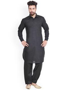 20 New Collection of Black Kurta Pajama Designs for Stylish Look Black Kurta Pajama Design, Kurta Pajama Punjabi, Pathani Kurta, Sangeet Outfit, Mens Kurta Designs, Smart Jackets, Looking Dapper, Sherwani, Black