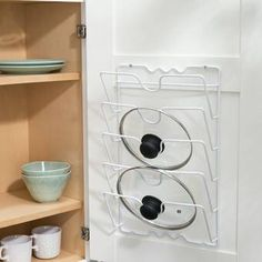 New Canipe Lid Rack Cabinet Door Organizer by Rebrilliant storage-sale. Fashion is a popular style Pot Organization, Kitchen Cabinet Organization, Kitchen Storage, Kitchen Cabinets, Cabinet Organizers, Kitchen Organizers, Cabinet Ideas, Kitchen Drawers, Cabinet Storage