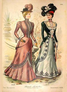 fashion plate. 1890s Fashion, Edwardian Fashion, Vintage Fashion, French Fashion, Edwardian Era, Victorian Era, Retro Mode, Mode Vintage, Vintage Ladies