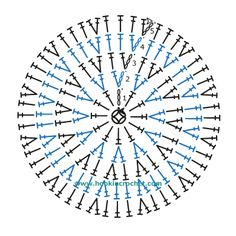 Basic Beanie Crown Design Crochet Chart Pattern created using the HookinCrochet� Crochet Symbols Font Software