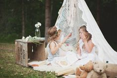 Lace teepee, vintage beats, old crate, simple flowers