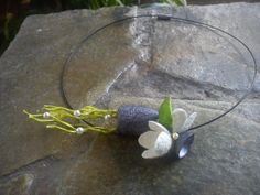 hand made silk cocoons jewelry - necklace No36