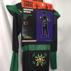 Totally Ghoul Ninja Costume Boys Size Small Serpent Ninja Hood Black Green | eBay