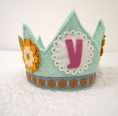 Yellow and Blue Girls Birthday Party Hat  daisy flower by mosey, $32.00