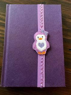 Adorable Purple Penguin Purple Lacy Elastic Planner Band stretchy bookmark school book band bible band midori accessories travelers notebook