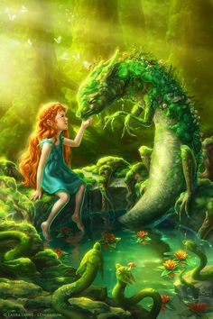Moss Dragon by Laura Diehl, a freelance illustrator who specializes in the genre's of children's illustration, fantasy illustration & science fiction illustration. All images are hand-painted digitally. Her work is known for its magical color, glowing light sources, & whimsical yet believable feel.