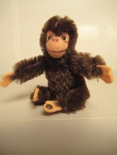 """In my ETSY Shop: """"Howz about a hug??"""" ~ Steiff Vintage Jocko Chimpanzee ~ Early Style Raised Script Button"""