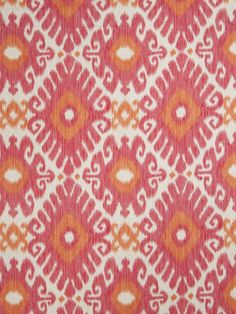 Orange and Pink Linen Ikat Upholstery Fabric by the Yard - Tangerine Ikat Fabric for Curtain Panels - Orange Linen Ikat Fabric by the Yard