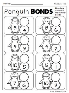 January Printables - No PREP (First Grade) Winter Themed - Penguin Number Bonds