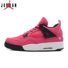 ba6d8e5b961 487724-601 Air Jordan IV 4 Valentine s Day Pink Chrome Classic Black  Women s Shoes