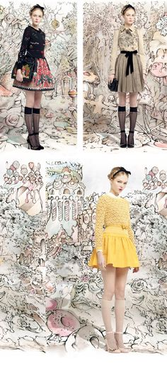 RED VALENTINO....like the nude knee highs with the yellow!!