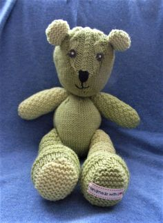 Beautiful handmade knitted teddy bear in green. by Rosiepusscrafts on Etsy