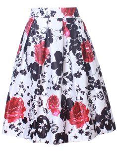 Fashionmia - Fashionmia Elastic Waist Flared Midi Skirt In Floral Printed - AdoreWe.com