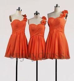 Custom Orange One Shoulder Strap Short Bridesmaid Dresses 2014 Simple Prom Dresses Cheap Evening Gowns Wedding Part Dresses Party Dress on Etsy, $58.00