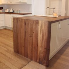 Timber Revival recycled timber benchtops with waterfall edge