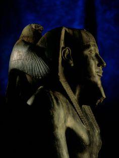 Statue made of Diorite; Pharaoh Khafre with Falcon God Horus, Egyptian Museum, Cairo, Egypt.