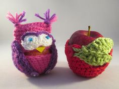 Handmade Crocheted Apple and Owl Apple Cozies/ Teacher's Gifts/ Back To School Gifts by LightsCameraCrochet on Etsy