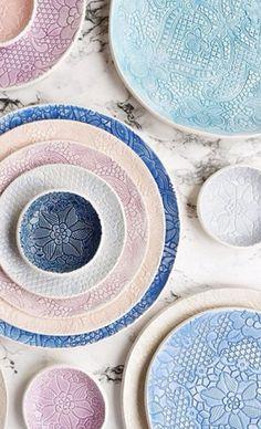 handmade ceramics and porcelain studio by ignataceramics Cerámica Ideas, Keramik Design, Ceramic Pottery, Ceramic Stool, Pottery Plates, Slab Pottery, Ceramic Bowls, Ceramic Art, Lace Patterns