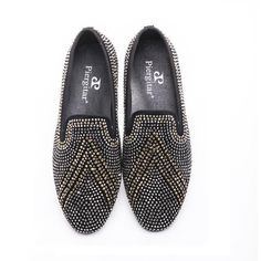 Men Luxury Brand Shoes 3 Color Mixed Rhinestone Mixed Loafer Shoes, Big Size 6 - 14.5