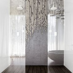 Pearl-beaded shower curtain by Romanian artist Mihaela Damian Exterior Design, Interior And Exterior, Wall Cladding, Traditional Wallpaper, Architecture Design, Architecture Interiors, Beautiful World, Innovation, Curtains