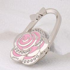 Rose Flower Rhinestone Folding Handbag Tote Purse Hanger Hook Holder Pink